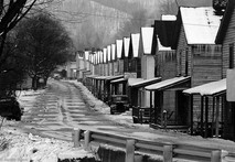 Rowhouses in snow