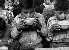 Children having soup