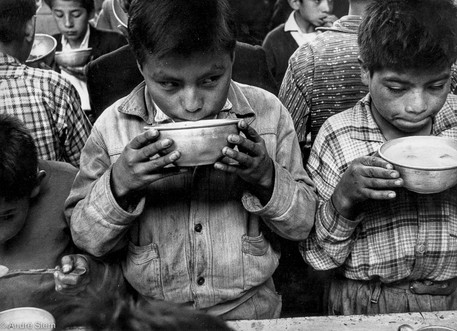 Children having soup