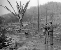 Andrew Stern interviewing Harry Caudill in polluted stream, Harlan County.