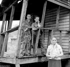 Family on side porch