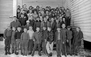 Class portrait 2 room schoolhouse