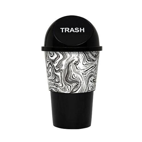 Kolorae Cup Holder Waste Can Black/White Swirl