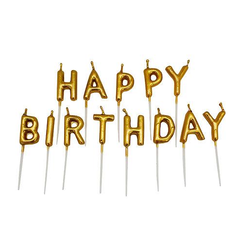 Kolorae Gold Happy Birthday Pick Set