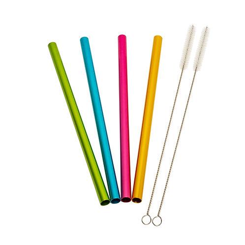 Kolorae Aluminum Straws Set of 4 with 2 Brushes