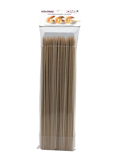 "Kolorae 12"" Bamboo Skewers - 100 Count"