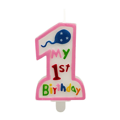 Kolorae Pink 1st Birthday Candle