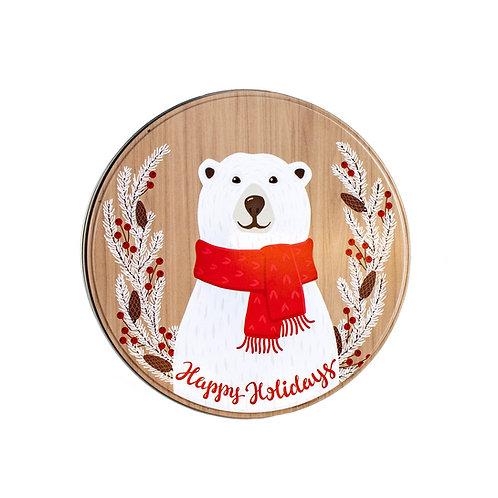 """Kolorae Tin 6"""" Round Happy Polar Bear"""