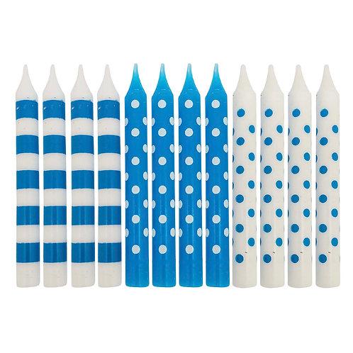 Kolorae Multi Blue Print Birthday Candles - 12 Count