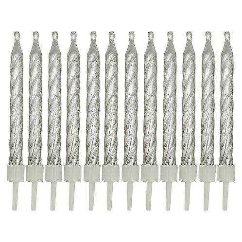 Kolorae Metallic Silver Birthday Candles - 12 Count
