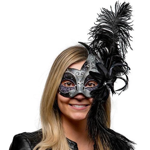 Masqarae Double Feather Bird Mask - BK