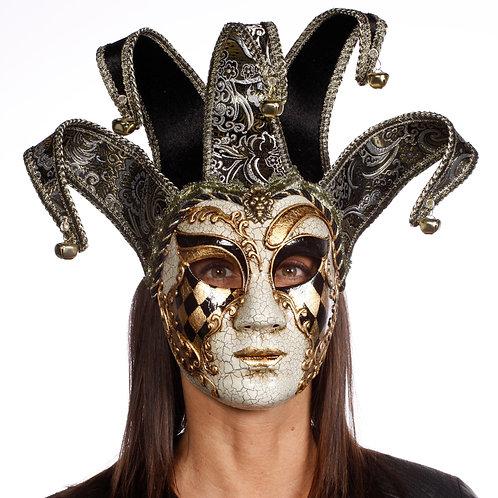 Masqarae Lady Harlequin Jester Mask - BG