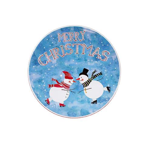 """Kolorae Tin 8.5"""" Round Ice Skating Snowman"""