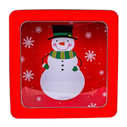 "Kolorae Tin 8"" PVC Square Happy Snowman"