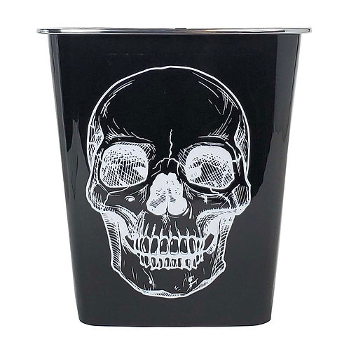 Kolorae Waste Can Black Base White Skull