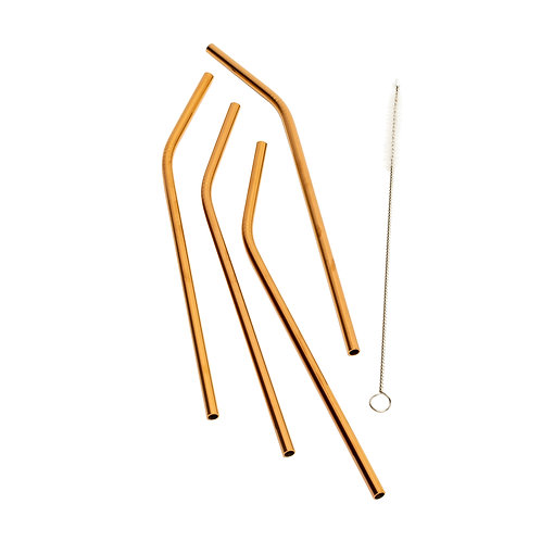 Kolorae Stainless Steel Copper Plated Bent Straws 4 Count with Brush