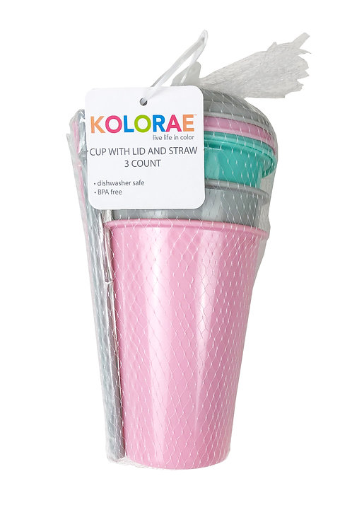 Kolorae Cup with Lid and Straw - 3 Count