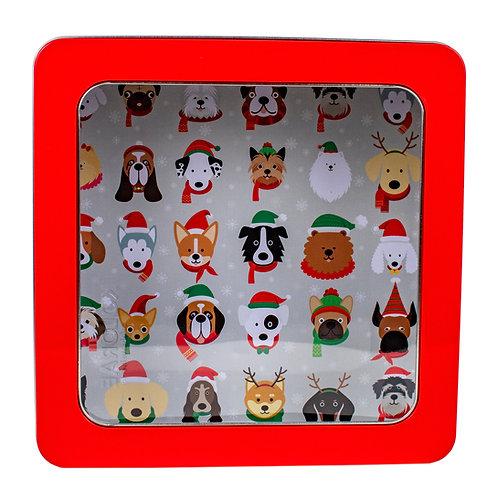"""Kolorae Tin 8"""" PVC Square Festive Dogs"""