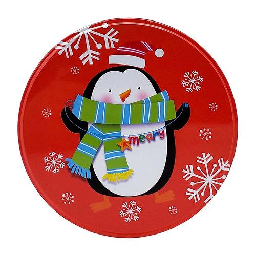 "Kolorae Tin 8.5"" Round Happy Penguin"