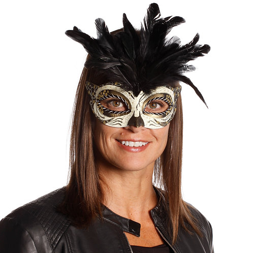 Masqarae Tufted Feather Mask - GB