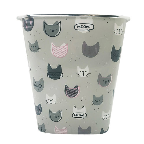 Kolorae Waste Can Plaid Cats
