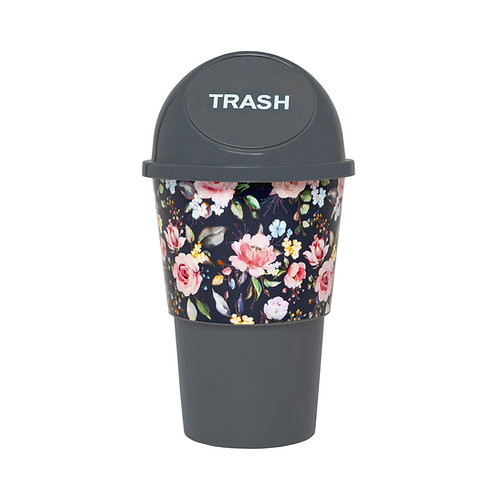 Kolorae Cup Holder Waste Can Navy Floral