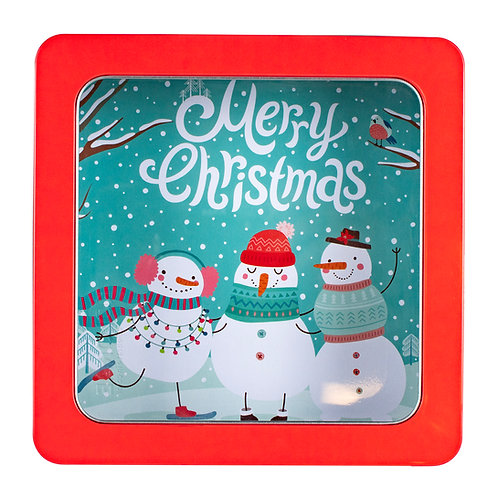 "Kolorae Tin 8"" PVC Square Merry Christmas Snowmen"