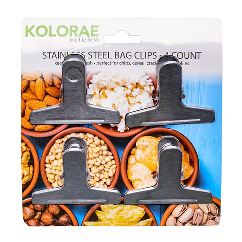 Kolorae Stainless Steel Bag Clips - 4 Count