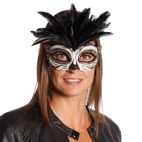 Masqarae Tufted Feather Mask - CC