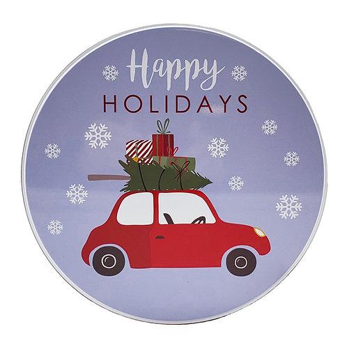 """Kolorae Tin 8.5"""" Round Red Car"""