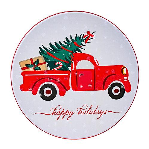 "Kolorae Tin 8"" Round Red Truck"