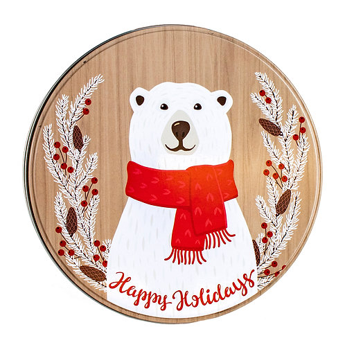 "Kolorae Tin 8"" Round Happy Polar Bear"