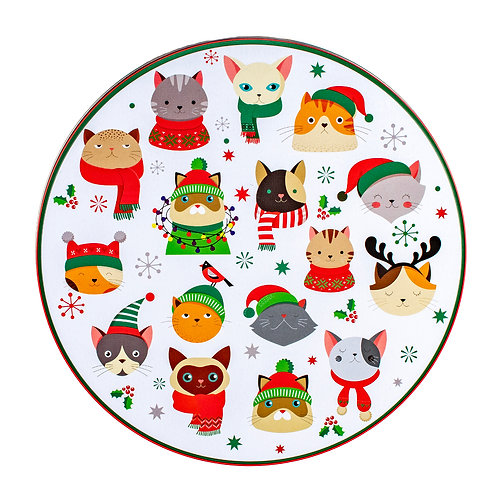 "Kolorae Tin 8"" Round Festive Cats"