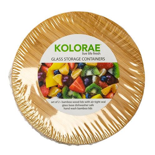 Kolorae Bamboo Glass Food Storage Round - Set of 2