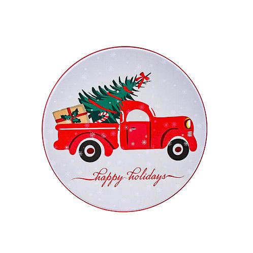 "Kolorae Tin 6"" Round Red Truck"