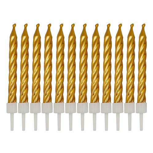 Kolorae Metallic Gold Birthday Candles - 12 Count