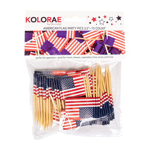 "Kolorae American Flag Party Picks 2.5"" - 75 Count"