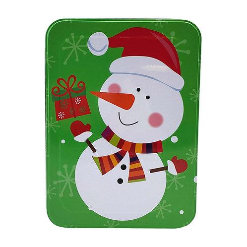 "Kolorae Tin 8.5"" Rectangle Gifting Snowman"