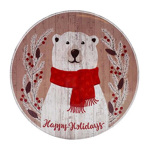 """Kolorae Tin 8.5"""" Round Polar Bear"""