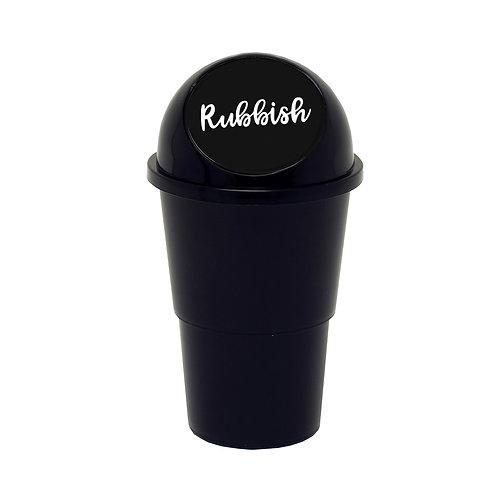 Kolorae Cup Holder Waste Can Cursive Rubbish Black