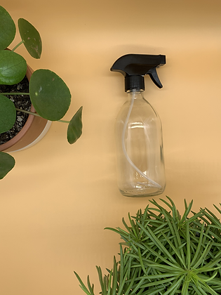 500ml Clear Glass Bottle with Black Spray