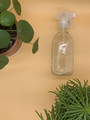 500ml Clear Glass Bottle with Natural Spray Lid