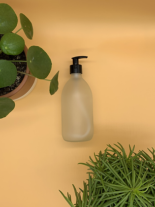 500ml Frosted Glass Bottle with Black Pump Lid