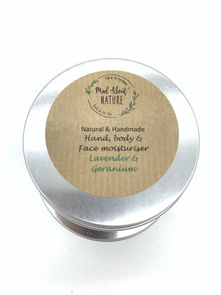 Handmade Hand, Body & Face Cream Moisturiser 60ml - Lavender & Geranium