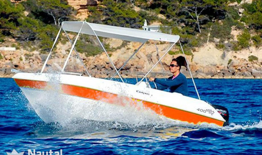 the yellowboat is the best optión to take pictures in the sea in ibiza. You don need license to rent boat zodiac hire cheap prices