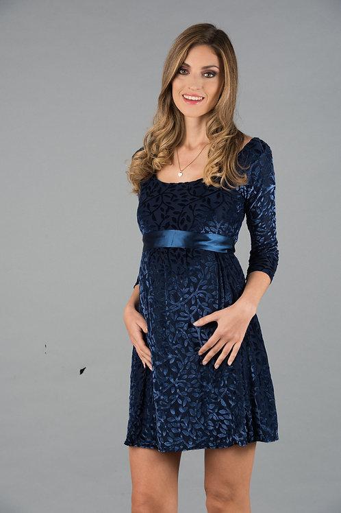 Vestido Encaje Venecia Plush Azul
