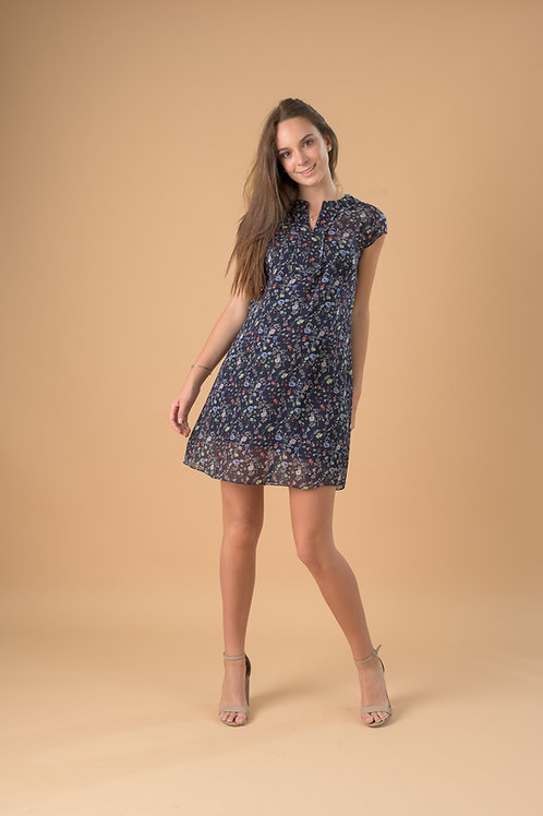 Vestido BELLY - Gasa Azul Flores.