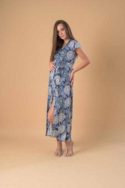 Vestido Lucía Largo - Venecia Azul Estampado.