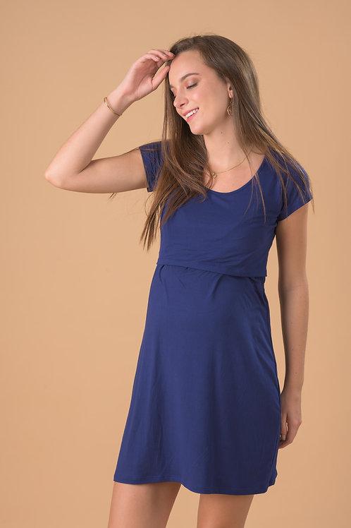 Vestido Básico Lactancia - Azul.