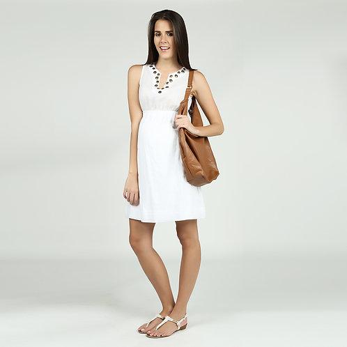 Vestido Nanzú Tachas Blanco